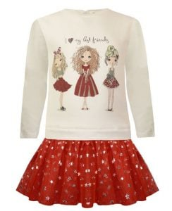 φορεμα σαν φουστα μπλουζα κοκκινο