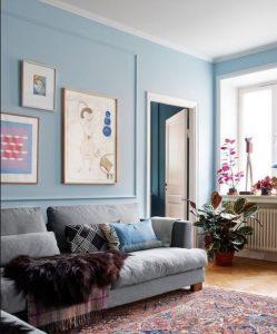 γκρι γαλάζιο σαλόνι