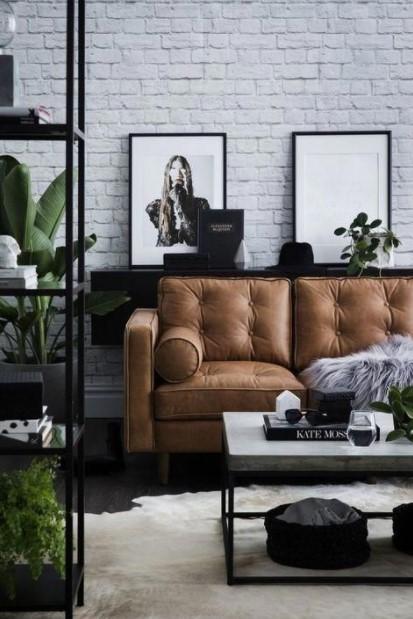 βιομηχανικό σαλόνι καφέ καναπές