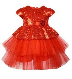 κοκκινο παιδικο φορεμα με τουλι