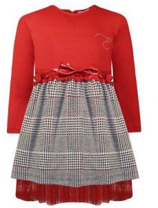 κοκκινο γκρι καρο φορεμα