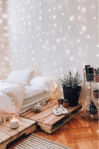 λαμπάκια βροχή κρεβάτι διακοσμήσεις λαμπάκια