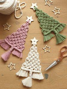 macrame χριστουγεννιάτικα δεντράκια