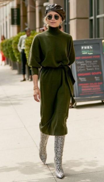 πράσινο πλεκτό φόρεμα λεοπάρ μπότα