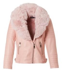 μπουφαν δερματινο ροζ mini raxevsky