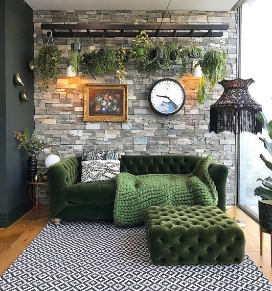 σαλόνι πράσινος καναπές φυτά