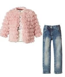 mini raxevsky σετ με τζιν και ροζ μπουφανακι