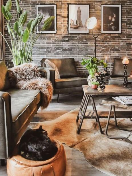 ταπετσαρία τούβλα καφέ καναπές