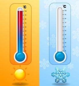 Πολύ κρύο πολλή ζέστη θερμόμετρα