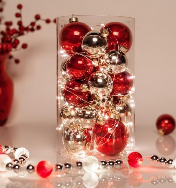 βάζο κόκκινες ασημί μπάλες λαμπάκια διακοσμήσεις βάζα Χριστούγεννα