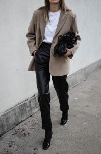 χειμερινό ντύσιμο με δερμάτινο παντελόνι