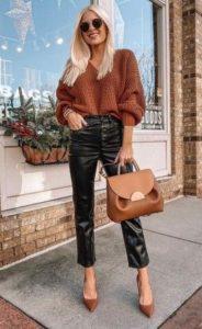 χειμωνιάτικο ντύσιμο με δερμάτινο παντελόνι