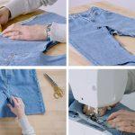 χειροποίητη φούστα από τζιν παντελόνι