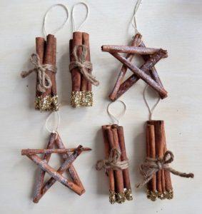 χριστουγεννιάτικα στολίδια από ξυλάκια κανέλλας