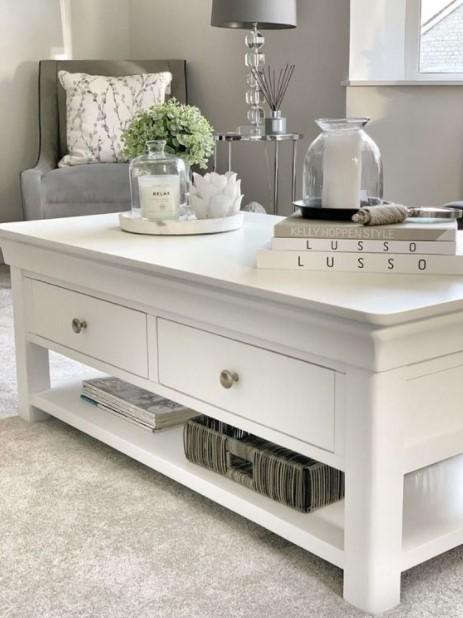 άσπρο τραπέζι μέσης συρτάρια