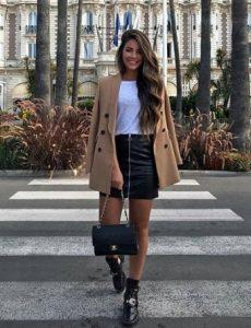 παλτό με φούστα δερμάτινη