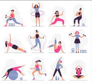 γυναίκα που κάνει διάφορα είδη γυμναστικής