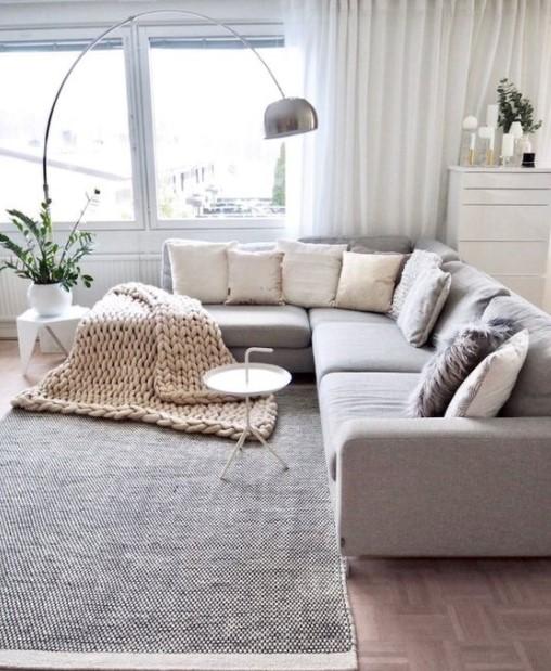 γωνιακός καναπές μεγάλο φωτιστικό
