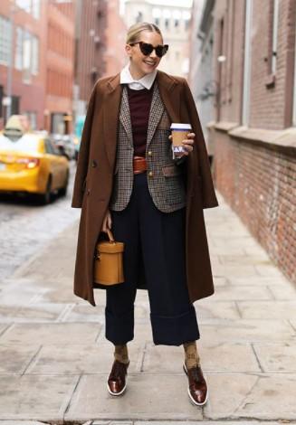 καφέ παλτό σακάκι ζιπ κιλότ καθημερινό ντύσιμο κρύο
