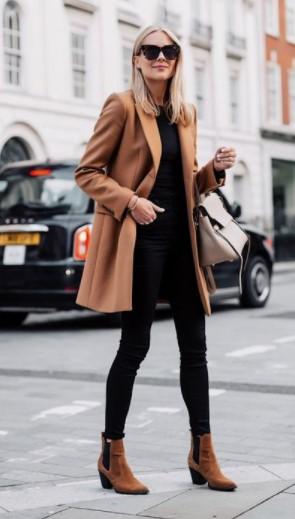καμηλό παλτό με μποτάκι