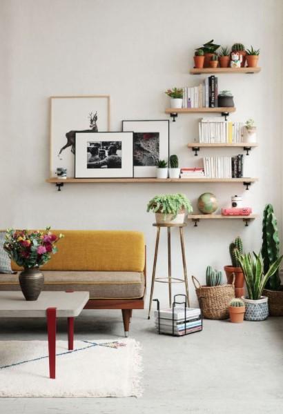 καναπές ράφια φυτά διακοσμήσεις μικρό σπίτι