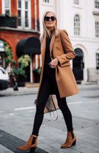 μαύρο κολάν και παλτό