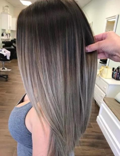 μαύρα μαλλιά γκρι balayage