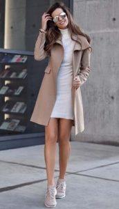 κοντό φόρεμα και παλτό