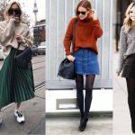 outfits με φουστα για τον χειμωνα