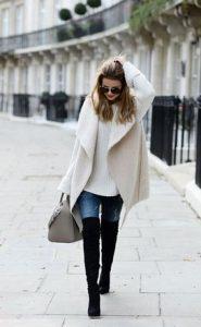ψηλές μπότες με παλτό