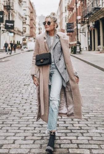 παλτό καρό σακάκι τζιν