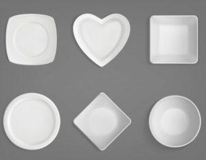 διάφορα σχήματα πιάτα