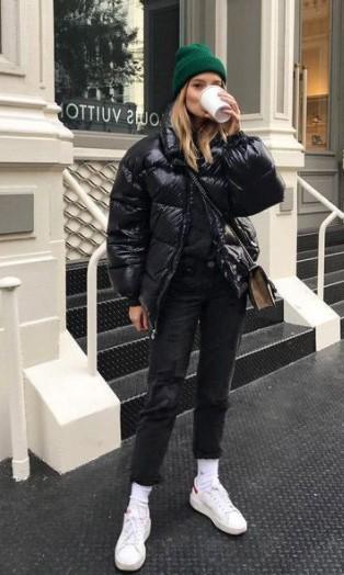 puffer μπουφάν σκούφος καθημερινό ντύσιμο κρύο