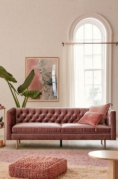 ροζ βελούδινος καναπες