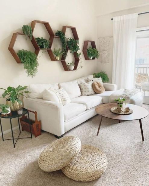 σαλόνι ράφια φυτά διακοσμήσεις μικρό σπίτι