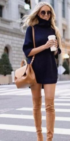 ταμπά μπότες με μίνι πλεκτό φόρεμα μπλε