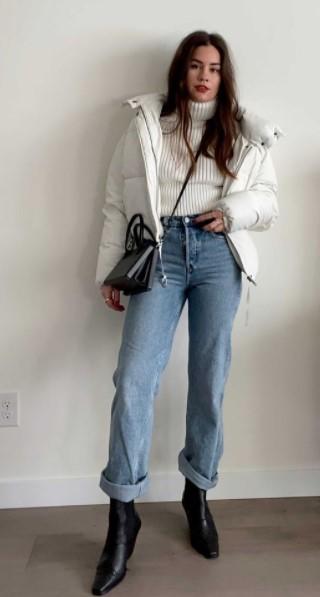 τζιν παντελόνι άσπρο μπουφάν