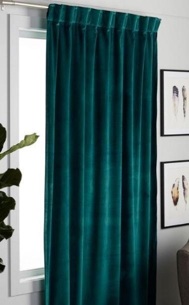 βελούδινη πράσινη κουρτίνα