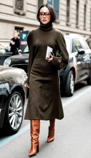 χακί φόρεμα καφέ μπότες χρωματικοί συνδυασμοί ρούχα ακριβά