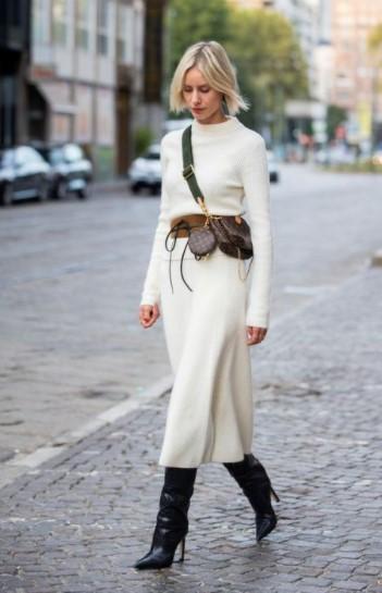 άσπρο μίντι πλεκτό φόρεμα