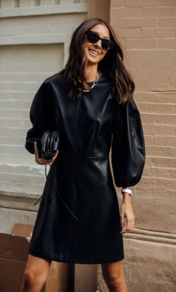 δερμάτινο μίνι μαύρο φόρεμα χειμωνιάτικα φορέματα