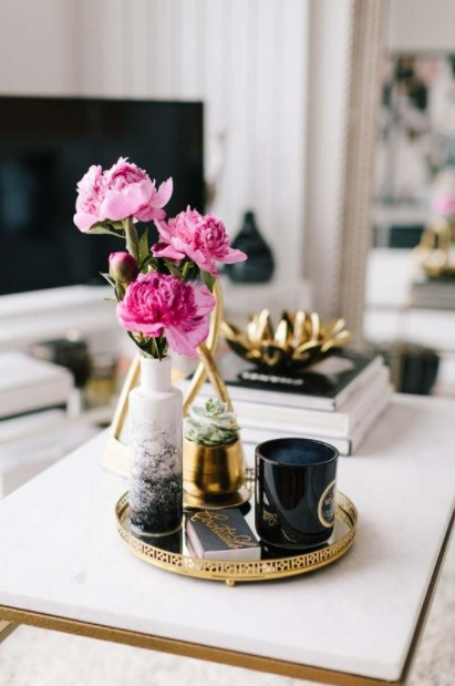 διακοσμητικός δίσκος λουλούδι κερί
