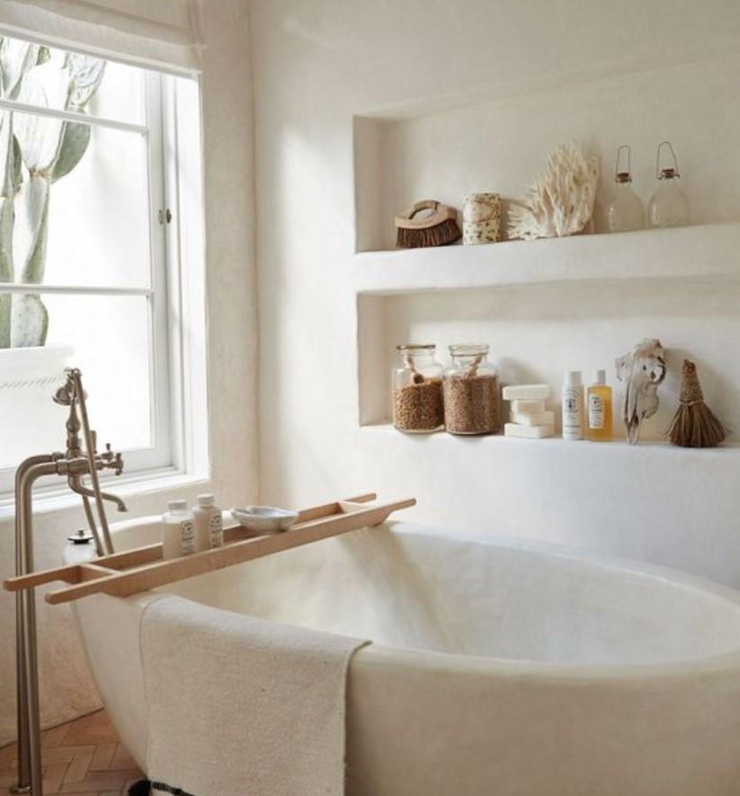 εντοιχισμένα ράφια μπάνιου με άλατα