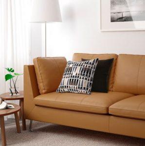 καφέ δερμάτινος καναπές ikea
