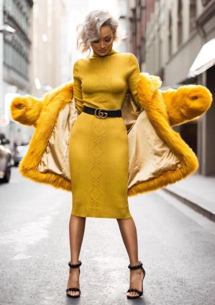 κίτρινο κολλητό φόρεμα κίτρινη γούνα χειμωνιάτικα φορέματα