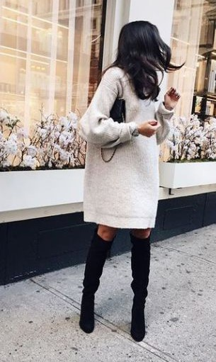 λευκό πουλόβερ φόρεμα