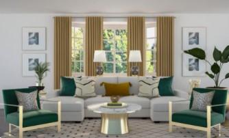 άσπρο σαλόνι με μουσταρδί λεπτομέρειες