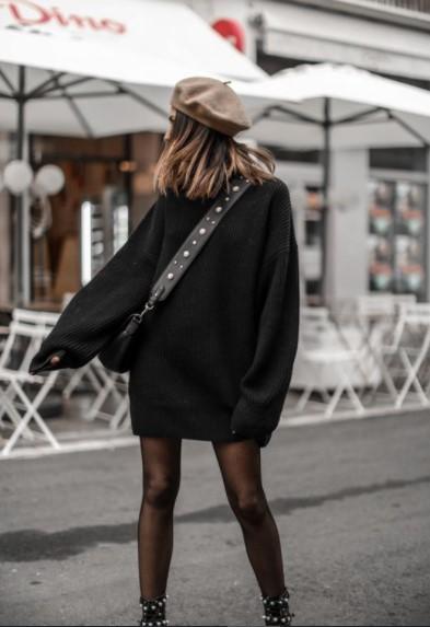 μαύρο πλεκτό πουλόβερ μπερές