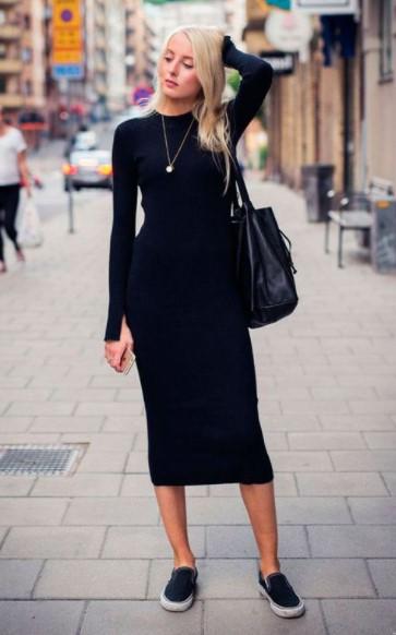 μαύρο πλεκτό κολλητό φόρεμα