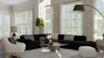μαύρος καναπές άσπρη κουρτίνα